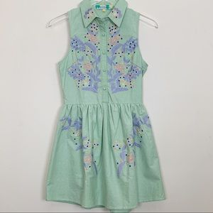English Rose Green Cotton Embroidered Dres…